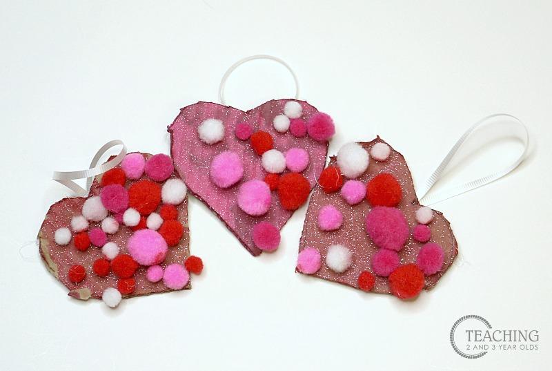 Cardboard Pom Pom Valentine Heart Craft