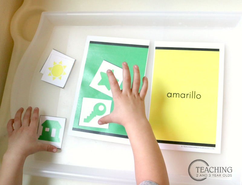 English and Spanish Color Sorting Printable Activity