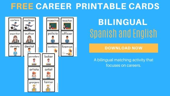 Bilingual Spanish and English Career Printable Cards
