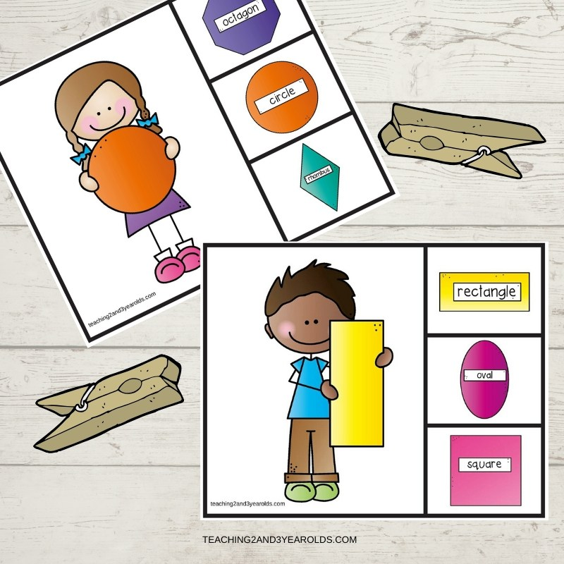 Shapes Match and Clip Cards Printable