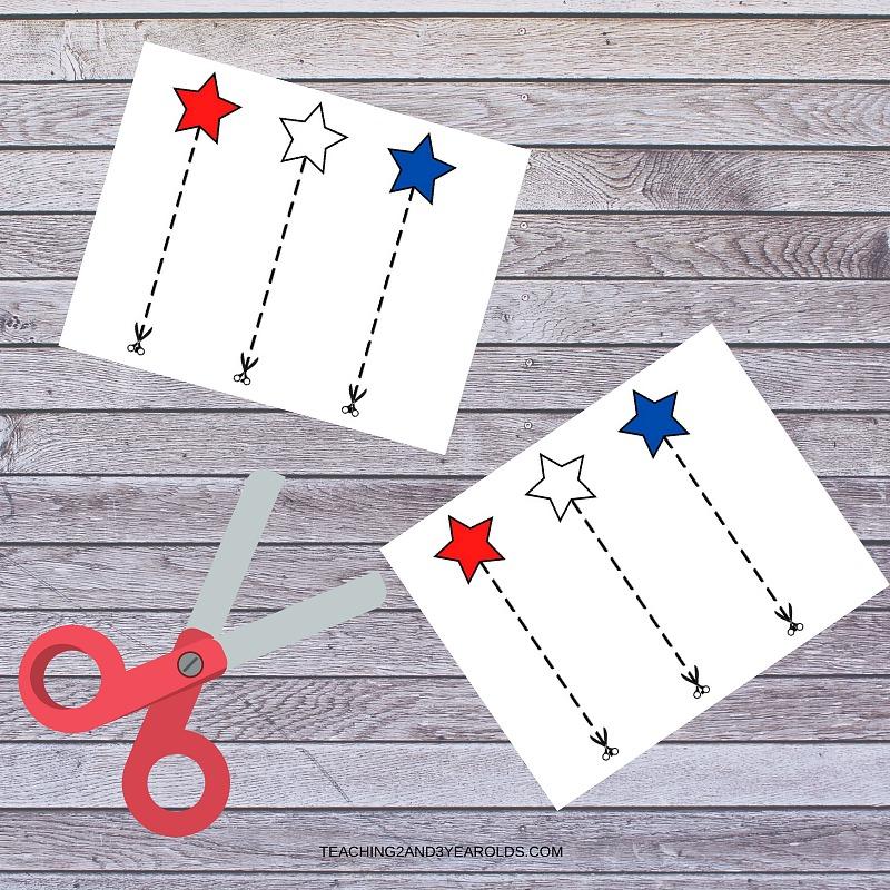 Star Scissor Practice Printable Cards