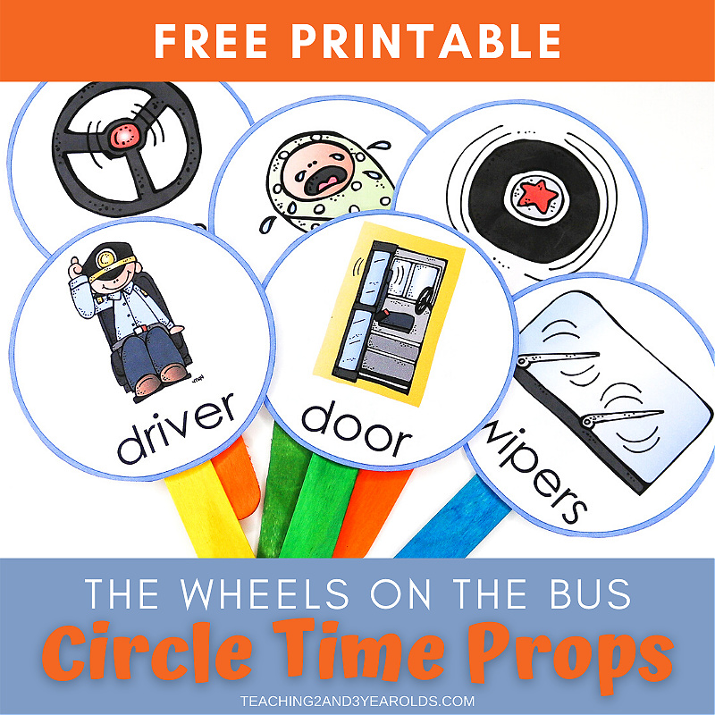 The Wheels on the Bus Printable Song Sticks