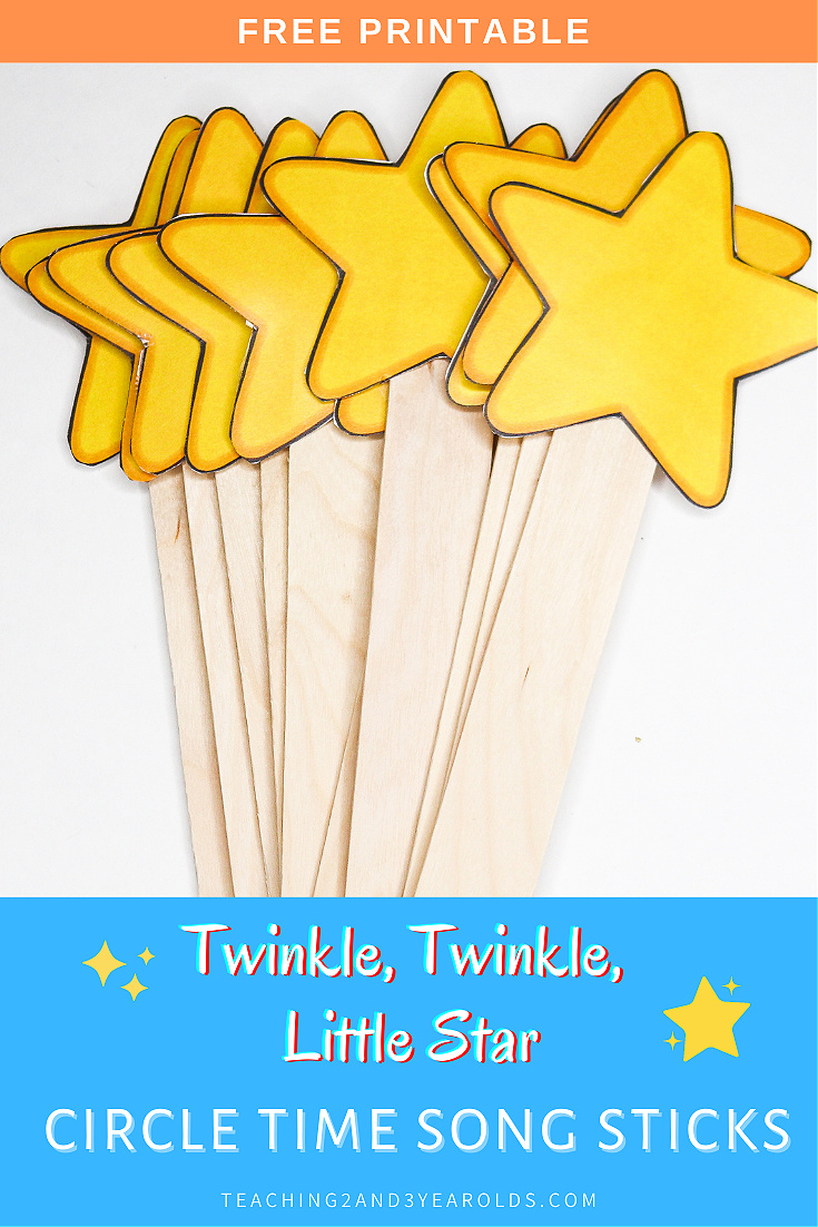 Twinkle, Twinkle, Little Star Printable Song Sticks