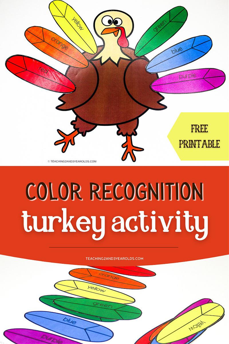 Thanksgiving Turkey Printable that Works on Color Skills