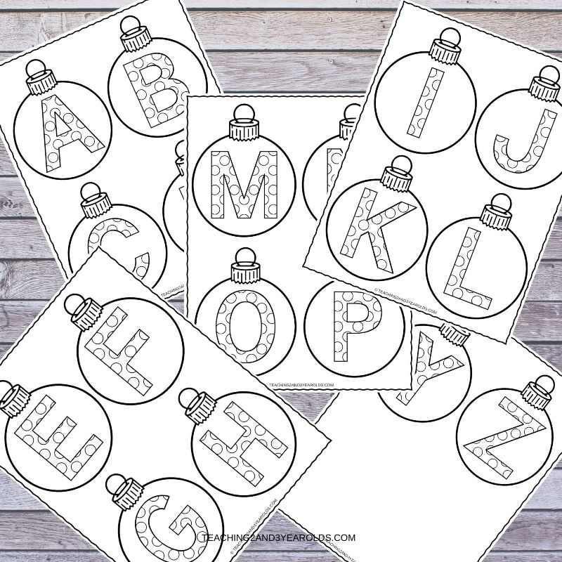 Alphabet Christmas Ornament Printable