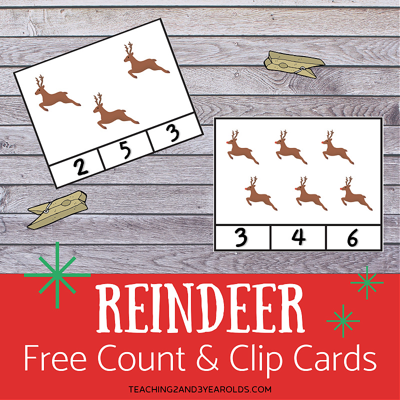 Count and Clip Printable Reindeer Activity