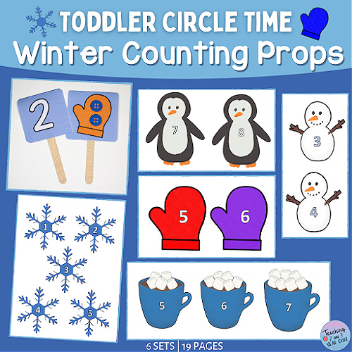 toddler circle time winter counting props