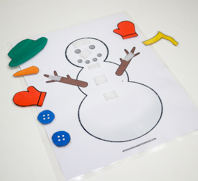 Printable Color Matching Snowman for Toddlers