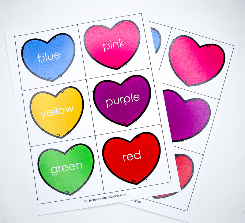 Matching Hearts Valentine Color Sorting Printable
