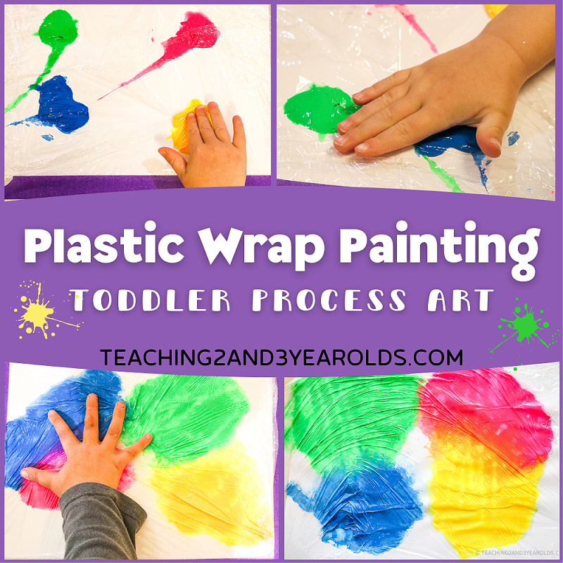 Toddler No Mess Painting Activity with Plastic Wrap