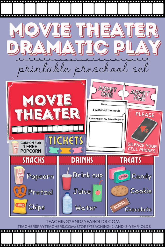 movie theater dramatic play for toddlers and preschoolers